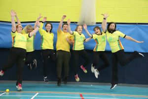 Team having fun in children's sports class